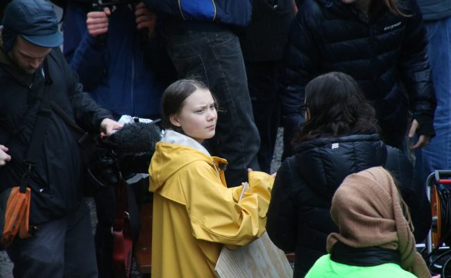 picture of greta thunberg in a crowd. picture by Mynttorget