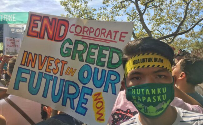 Hamid Arrum at a climate demonstration